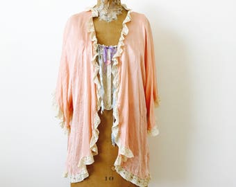 Vintage 1920s satin bed Jacket Petticoat/Pastel pink top/Lace trim