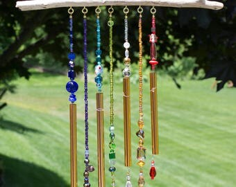 Rainbow Beaded Wind Chimes - Beaded Wind Chimes - Colorful Wind Chimes - Handmade Beaded Wind Chimes - Driftwood Wind Chimes - Garden Decor