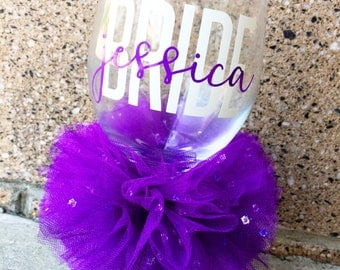 Personalized Bride Glass Custom Name Bridal Wedding Shower Bachelorette Bridesmaid Groom Groomsman Marriage Wine Glass