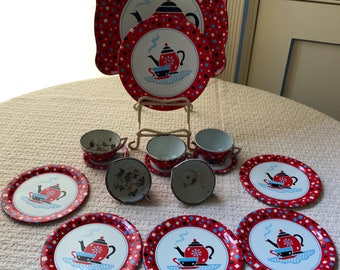 Antique Metal Ohio Art Toy Co. Tea Set 1959 Coffee Time- Metal Girls Dishes - Metal Toys - Dishes just like Mom- 15 pieces