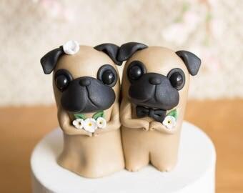 Pug Wedding Cake Topper by Bonjour Poupette