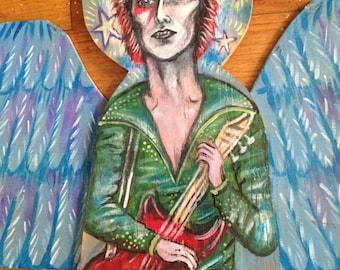 David Bowie Angel hand painted wooden original