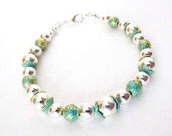 Teal Bracelet - Small Silver Bracelet - Silver Beaded Bracelet - Bright & Shiny Bracelet - Teal Green Beads with Gold Accents