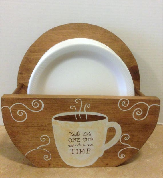 Paper Plate Holder, Coffee Decor, Coffee Theme, Bistro Theme, Coffee Kitchen Decor, Wooden Plate Holder, Coffee Lover, Coffee Gift, Coffee