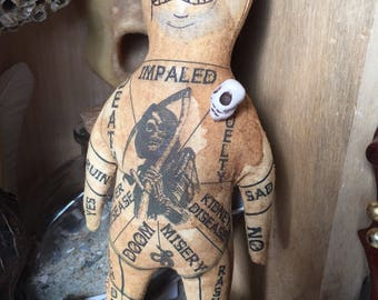 Original Art OOAK Handmade Voodoo Doll Spiritual Hoodoo Fetish For Macabre Curiosity Cabinet or Magic Witch Poppet Grim Reaper Lowbrow
