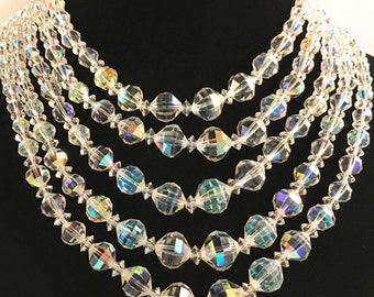 Signed Laguna Crystal Beaded Necklace, Vintage Jewelry, Swarovski, Laguna Multi Strand Necklace, Graceful Bridal Necklace, Special Occasion