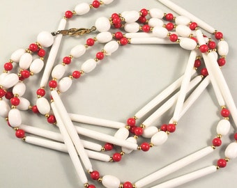 Red & White Beaded Necklace, Vintage Jewelry, Three Strand Vintage Necklace, Multi Strand Lucite Necklace, Long Necklace, Lucite Jewelry