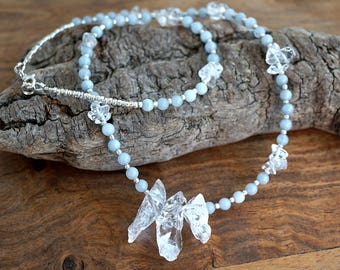 Raw Crystal Necklace Rock Crystal Points Necklace Rock Quartz Necklace Blue Aquamarine Necklace Crystal Cluster Stones Tiny Silver Boho Gift
