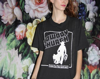 Screen Stars 50 50 Cotton Poly 80s Black Nashville Cowboys Church T Shirt - 1980s Vintage Tees - 80s Clothing - WV0394