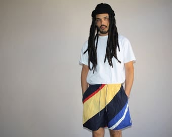 1990s Vintage Graphic Colorblock Nautica Hip Hop Rap Rapper Swim Trunks Men's Shorts - 90s VTG Swimming Shorts - 90s Clothing - MV0387