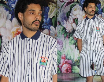 Deadstock Gitano Club Pacific Striped Graphic Surf 90s Vintage  Hip Hop Tribal Shirt and Shorts  Set - 90s Clothing - Mv0395