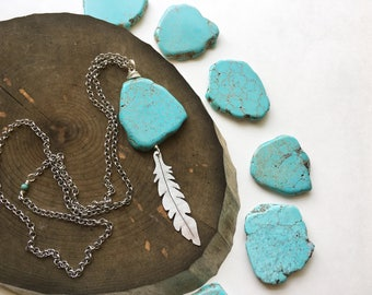 Feather and blue stone pendant necklace, tribal feather necklace