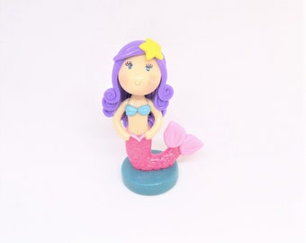 Little Mermaid Cake Topper, Cold Porcelain Clay Mermaid Figurine with Purple Hair & Pink Tail, Under the Sea Birthday Decoration, Gift