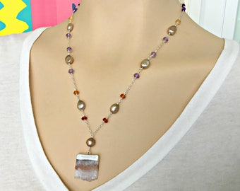 Druzy Wire Wrapped Necklace, Pearl Amethyst Garnet Wire Wrapped Necklace, Sterling Silver Gemstone Pendant Necklace