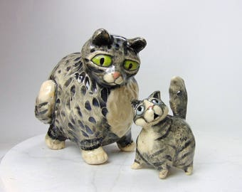 Furry Gray Tabby Cat and Kitten Sculptures - Pottery Animals - Hand Built Animal Sculptures - Ceramic Animals - Pinch Pot Animals