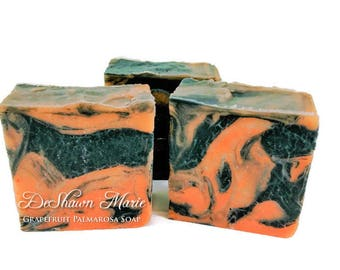 SOAP 3 lb Grapefruit Palmarosa Activated Charcoal Soap Loaf, Wholesale Soap, Vegan Soap, Cold Processed Soap, Natural Soap, Christmas Gift