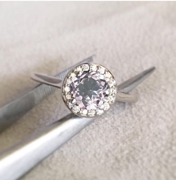 Grayish Lavender Spinel and Diamond Halo Ring