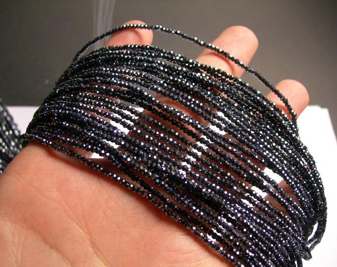Crystal - rondelle  faceted 1mm x  2mm beads - 197 beads -  Ab metallic  black  - full strand - VSC9
