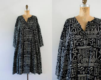 1980s Artisan Etch indian cotton tent dress / 80s African boho