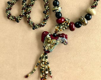 Tan and Red Pony Handmade Bead Necklace