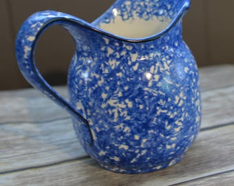 Stangl Town and Country 6.5 inch Blue and White spatterware pitcher  48oz Circa 1970s