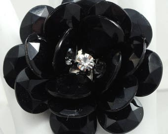 Dramatic Black Floral Ring/Big/Rhinestone/Statement Ring/Gift For Her/Spring/Summer Jewelry/Adjustable/Under 20 USD