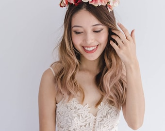 red pink spring flower crown // spring racing flower headpiece / spring carnival headpiece / spring races flower fascinator / festive