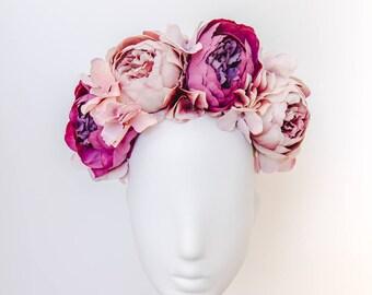 purple statement flower crown // spring racing flower crown / spring carnival headpiece / spring races flower headband / flower fascinator