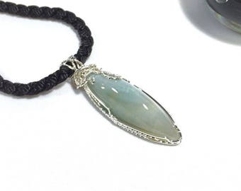 Green Agate Cabochon Wire Wrapped Pendant in Sterling Silver