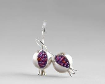Pomegranate Earrings - Amethyst Silver Earrings - Ruby Silver Earrings - Pomegranate Silver Earrings - Pomegranate Jewelry -