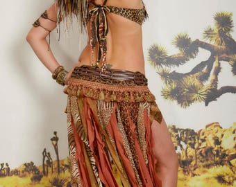 Tribal Animal Print Gypsy Skirt Belt,Festival Belt,Scarf Belt,Boho Leather Belt,Tassel Belt,Belly Dance, Sexy Costume,Festival Costume,Belt