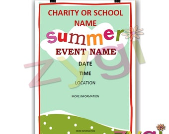 Printable Charity or PTA poster-summer fund raiser- Editable and Printable- you print and edit- INSTANT DOWNLOAD