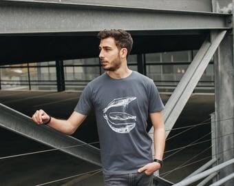 Shirt three whales fair wear / organic men shirt _dark grey