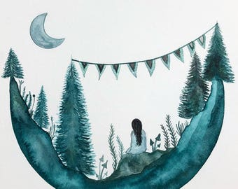 ORIGINAL PAINTING // Moon Meditation // Elise Mahan