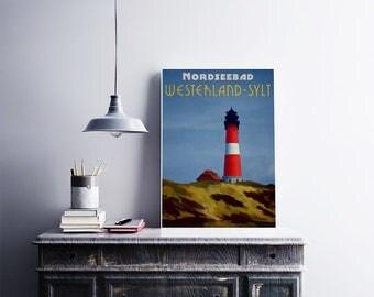 Lighthouse 12x18 Poster Art Print Germany Sylt Island Art Coastal Home Decor Beach House Art Light House Print Red Lighthouse