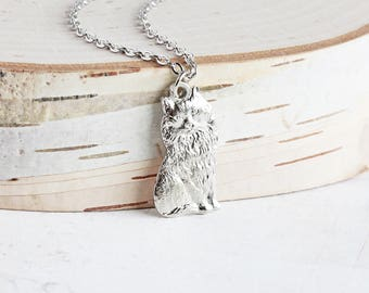 Rhodium Plated Cat Pendant Necklace on Antiqued Silver Plated Chain