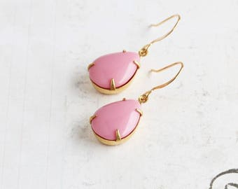 Light Pink Earrings, Rhinestone Teardrop Earrings on Gold Plated Hooks, Pink Drop Earrings, Vintage Style Jewelry