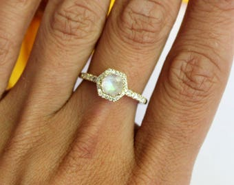 Moonstone halo yellow gold ring, hexagon halo ring, unique engagement ring 14K yellow gold halo ring