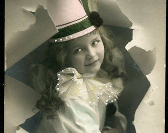 Cute Girl in STYLISH HAT Breaking Through PAPER In Wonderful Artistic Pose Photo Postcard 1912