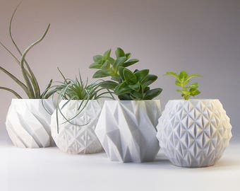 modern planter variety pack succulent pot home office decor plant pot gift set of 4 small 3d printed planters office gift