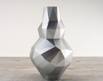 Silver Flower Vase Metallic Decor Interior Design Futuristic Decor Metallic Silver Bottle Vase Silver Vase Metallic Bottle Modern Pottery