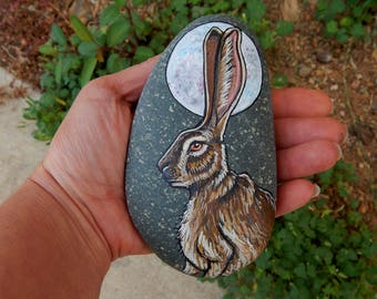 Moon RABBIT Totem Hand Painted Stones HARE Rock Art Animals Spirit Guide Artwork Stone ART Paperweight Altar Tools Nature Paintings Bunnies