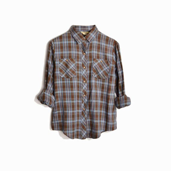 Vintage 80s Woodsy Girl Brown Plaid Shirt / Brown & Blue Plaid - women's medium