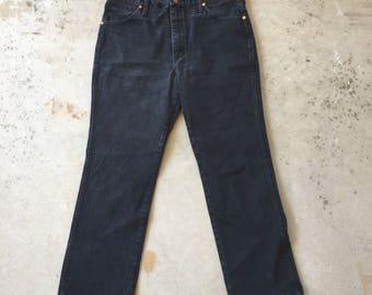 36x29 Wrangler Black Classic Straight Leg Jeans American Made 80s Vintage Colored Denim 936 WBK