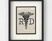 Dietitian - RD, Registered Dietitian over Vintage Medical Book Page - Dietitian Gift, Dietitian Graduation Gift, Gift for Dietitian, RD Grad