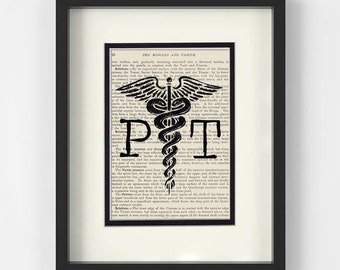 Physical Therapy - PT over Vintage Medical Book Page - Therapist, Physical Therapy Gift, PT Graduation, PT Graduation Gift, Therapy