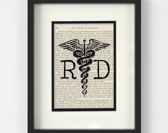 Dietitian- RD, Registered Dietitian over Vintage Medical Book Page - Dietitian Gifts, Dietitian Graduation Gift, Gift for Dietitian, RD Grad