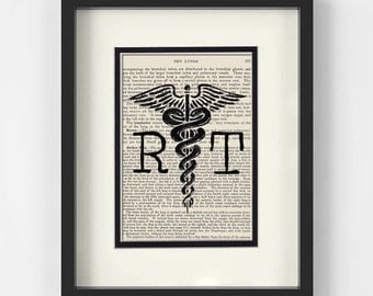 Radiology - RT Radiology Technologist over Vintage Medical Book Page - Radiology Gifts, Radiology Tech, Radiology Tech Gifts, Radiologist