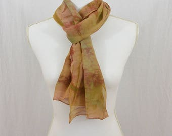 Hand Painted Chiffon Silk Scarf, Earthy, Green, Mauve, OOAK, Gift for her, Mori Girl, Watercolor Scarf, Abstract Scarf, Hippie, Boho