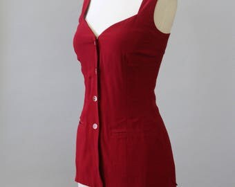 Vintage Red Tunic 80s Button Up Sleeveless Tunic Shirt Top S M